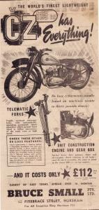 anglická reklama ČZ 125T