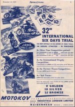 Reklamní leták Jawa-ČZ Velká Británie 1957