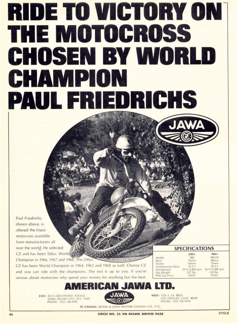 Nabídka motokrosových motocyklů USA
