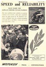 Reklamní leták Jawa-ČZ USA 1954