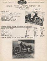 Nabídka motocyklů Jawa USA 1957